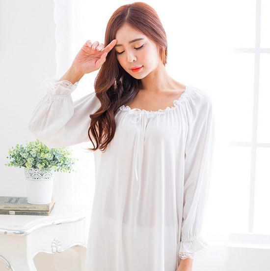 2016 New Summer Comfortable Cotton Nightgown Women's Long White Pink Sleepwear Lace D29