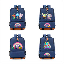 56852827c3 Anime Il Fantastico Mondo di Gumball Stampato tela di canapa dello zaino  sacchetto di scuola Adolescenti