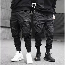 Men Ribbons Color Block Black Pocket Cargo Pants 2019 Harem Joggers Harajuku Sweatpant Hip Hop Trousers цены онлайн