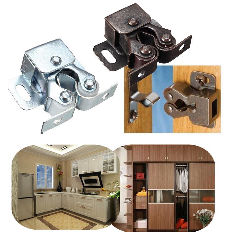 1 шт. двойной ролик ловит шкаф Защелка двери шкафа хром/медь кухня Премиум двойной шар шкаф Защелка двери шкафа жесткий