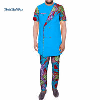 Dashiki Mens African Clothing Double Button Top Shirts and Pants Sets Bazin Riche African Clothe Print 2 Piece Pants Sets WYN456