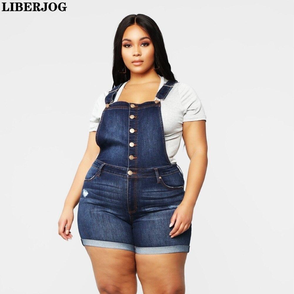 LIBERJOG Big Size Straps   Shorts   Women Denim   Shorts   Slim Elastic Plus Size 4XL Summer Female Casual Blue   Short   Jeans Large Size