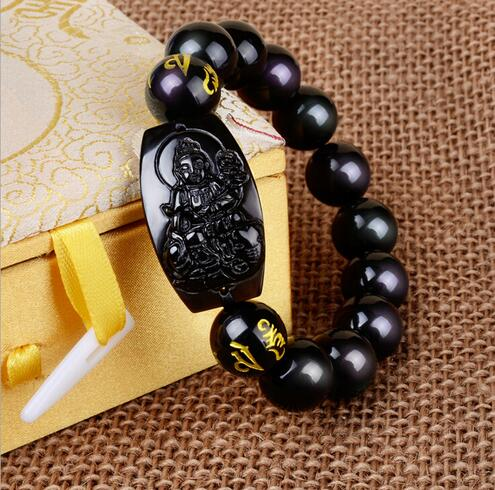 10MM High Quality Natural Black Obsidian Carved Buddha Lucky Amulet Round Beads Bracelet For Women Men