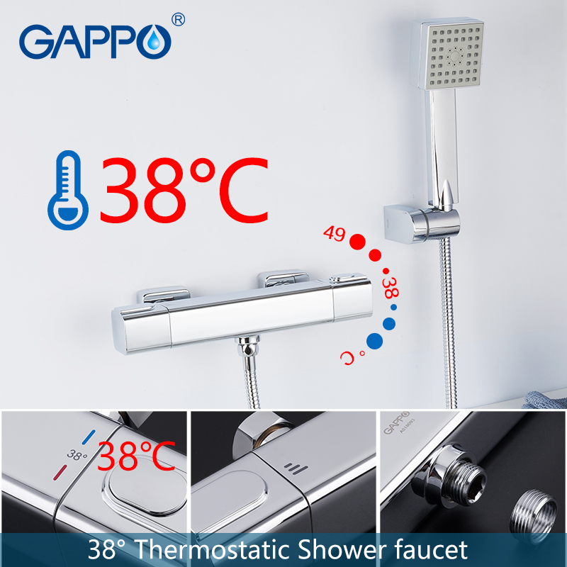 купить GAPPO Shower Faucet chrome bathroom shower wall mounted thermostat bathtub faucets brass bath taps shower mixer torneira недорого