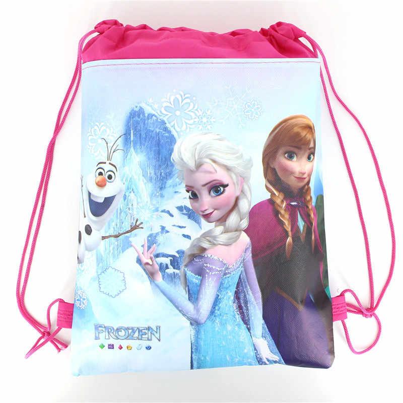1 stuks Disney Forzen Elsa & Anna Kid Gunst Reistas Opslag Kleding Schoenen Tassen Katoen Trekkoord Zakken School Draagbare rugzak