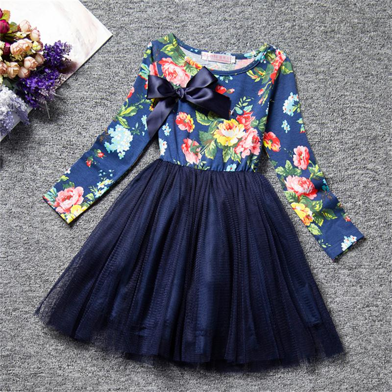 2019 Autumn Winter Girl Dress Long Sleeve Polka Dot Girls Dresses Bow Princess Teenage Casual Dress Daily Kids Dresses For Girls