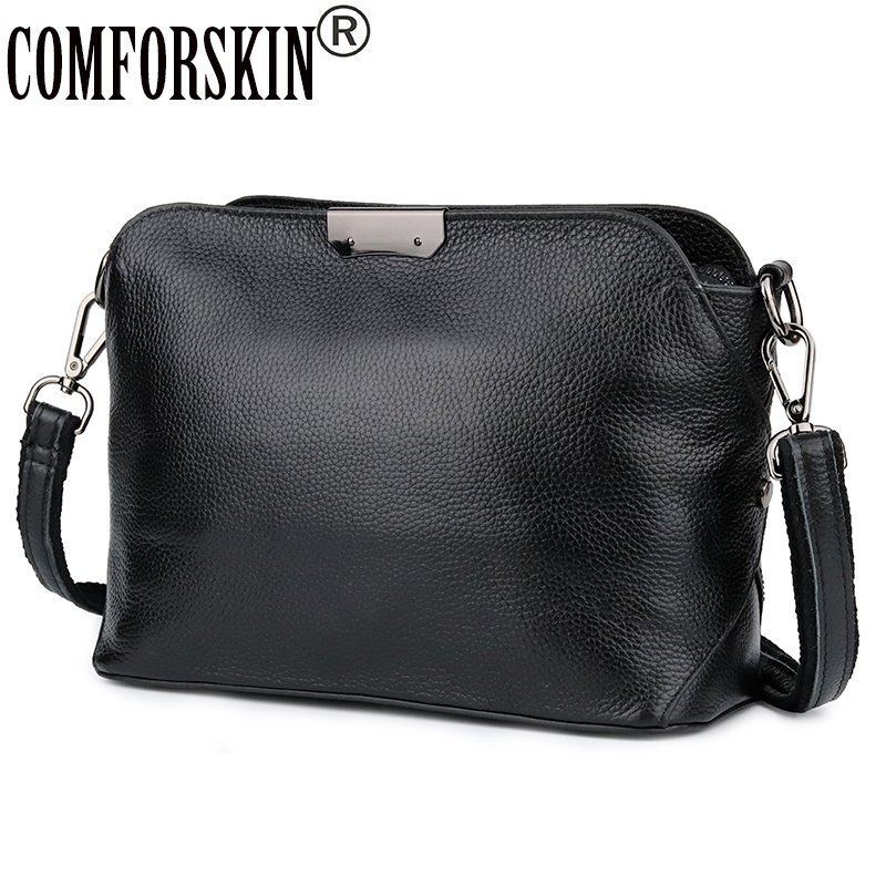 COMFORSKIN Cowhide European American Feminine Messenger Bags Brand Designer Single Strap Women Large Capacity Cross-body Bags
