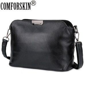 COMFORSKIN Cowhide European American Feminine Messenger Bags Brand Designer Single Strap Women Large Capacity Cross-body Bags(China)