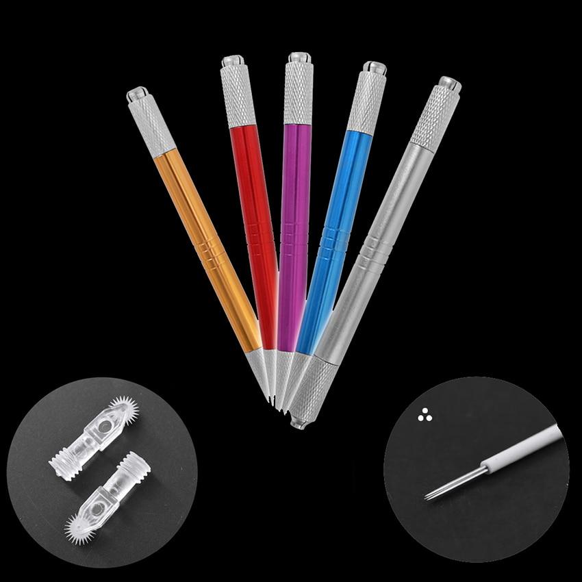 Manuale Di Trucco Permanente Penna Kit Nebbia Sopracciglio Microblading Di Bellezza Del Tatuaggio Della Pistola Manuale Rullo Spille Rotonda Lame Facile Da Colorare