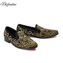 Deification Full Embroidery Sapato Masculino Italian Shoes Men Wedding Shoes Schoenen Leather Classic Prom Shoes Velvet Loafers все цены