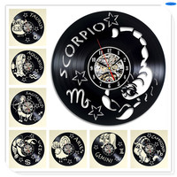 Creative Fashion 12 Constellation Series Black Vinyl Record Design Art Wall Clock Wall Clock Decal Wall Sticker Decoration