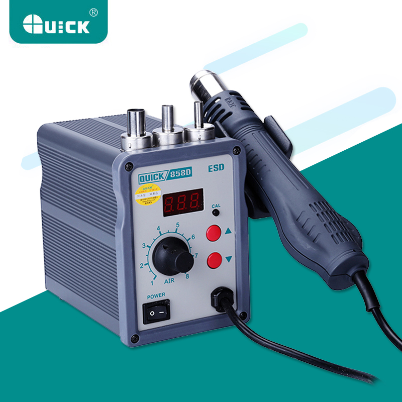 QUICK 858D LED Digital ESD Rework Station Lead Free Adjustable Hot Air Heat Gun With Helical Wind 700W Air Soldering Station quick 858d hot air soldering station 700w 220v heat air gun welding bga smd rework station with led digital display helical wind