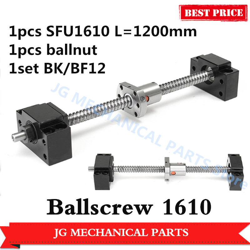 High quality Ballscrew set: Rolled Ballscrew 1610 L=1200mm C7 with SFU1610 single Ball nut+BK/BF12 ballscrew end support for CNCHigh quality Ballscrew set: Rolled Ballscrew 1610 L=1200mm C7 with SFU1610 single Ball nut+BK/BF12 ballscrew end support for CNC