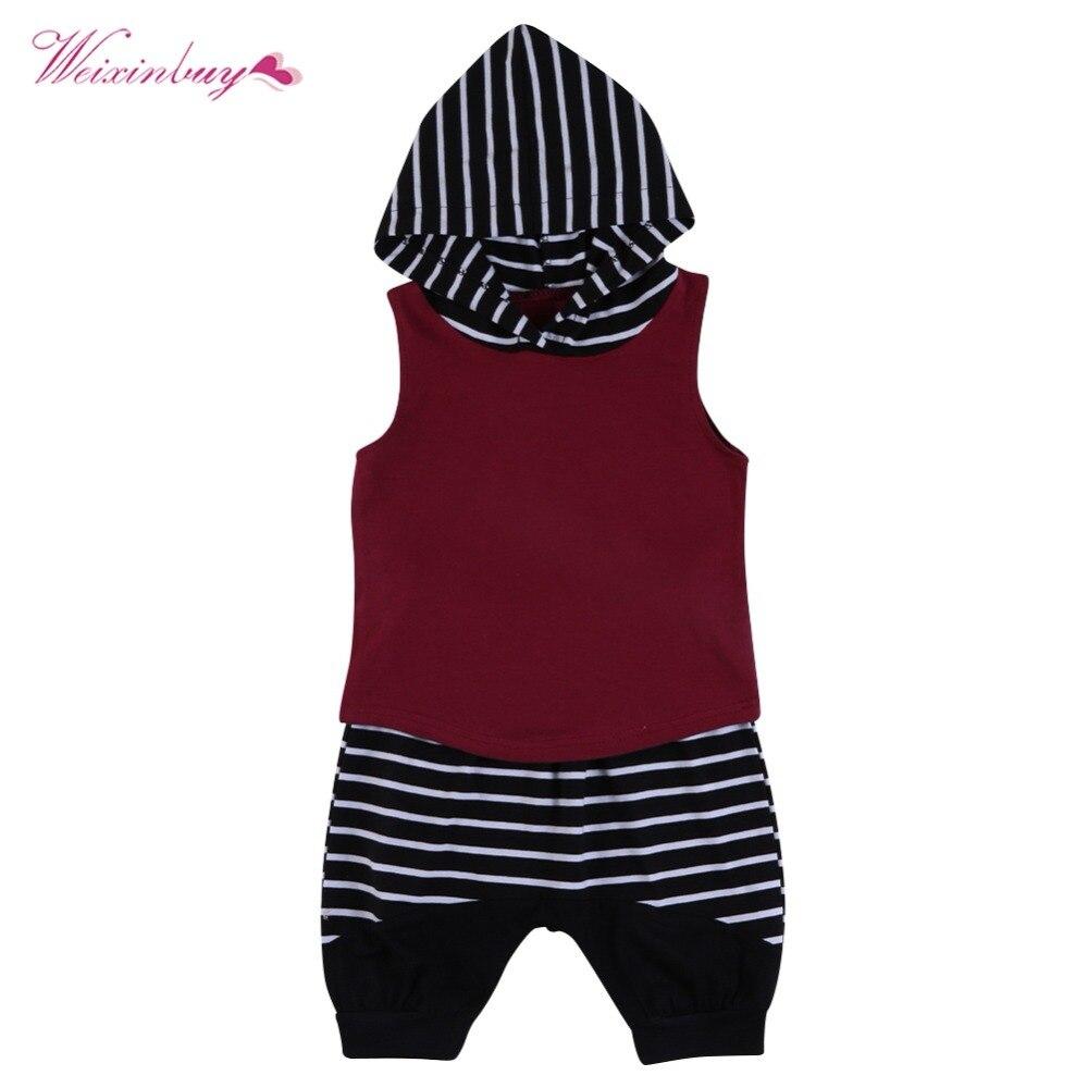 2017 Fashion Summer 2PC hoge kwaliteit gestreepte Hooded mouwloze - Kinderkleding - Foto 2