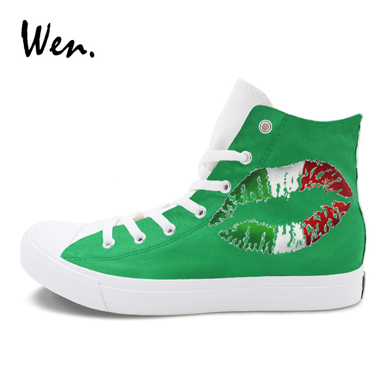 Wen Women Top Sneakers Red Green Hand Painted Shoes Lip Print Italy Flag Painting Canvas High Top Men Sport Plimsolls Lace up eyelet lace botanical print top