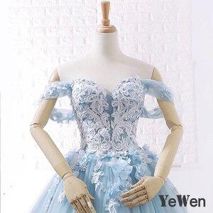 Image 4 - יוקרה נסיכת פרחי תחרה כלה חתונה שמלות 2020 חרוזים כדור שמלת אור כחול צבע הכלה שמלה אלגנטי robe דה mariee