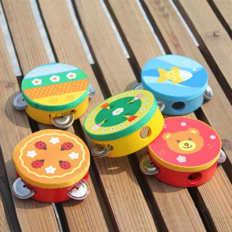 Children Musical Instrument Handbells Baby Drum Hand Bells Kids Music Sound Toy Cartoon Primt Educational Toys Baby Wooden Bells