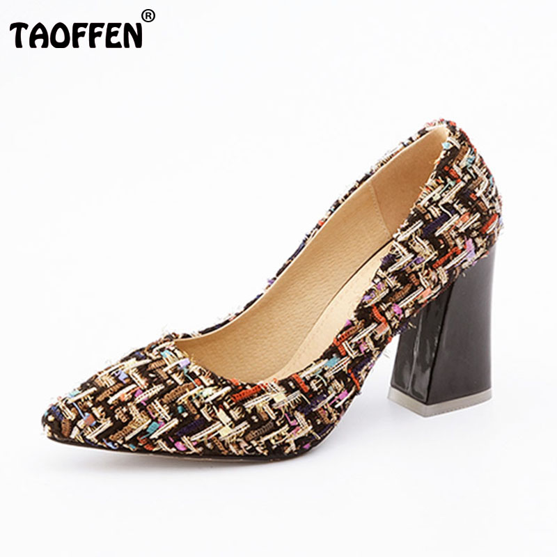 TAOFFEN Size 31-46 Brand Women High Heel Shoes Pointed Toe Cloth Thick Heels Pumps Sexy Party Club Shoes Elegant Women Footwear