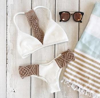 Evage pitaya Braided rope maillot de bain femme white sexy swimwear women padded bikini brazilian bikini 2017