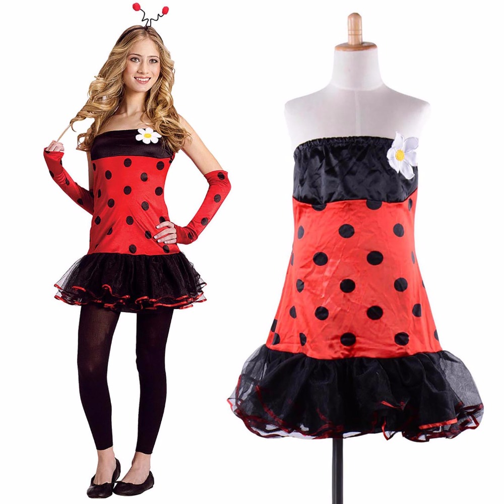 flirty ladybug women's adult halloween dress up role play costume