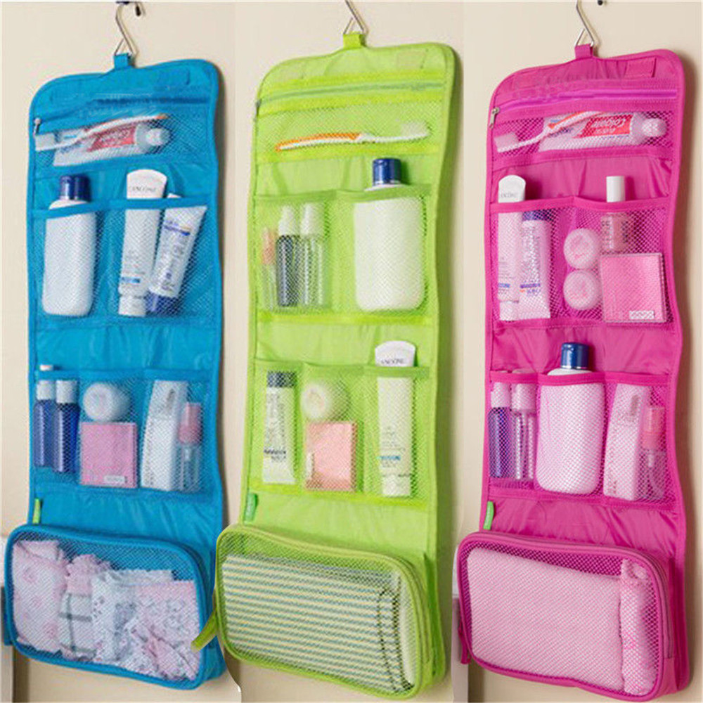 Toiletry-Bag Lotion Storage-Organizer Cosmetic-Case Shampoo Hanging Bathroom Travel Polyester title=