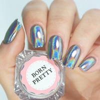 BORN PRETTY 1g 1Box Holographic Shiny Powder Laser Rainbow Powder Nail Glitter Dust DIY Nail Chrome