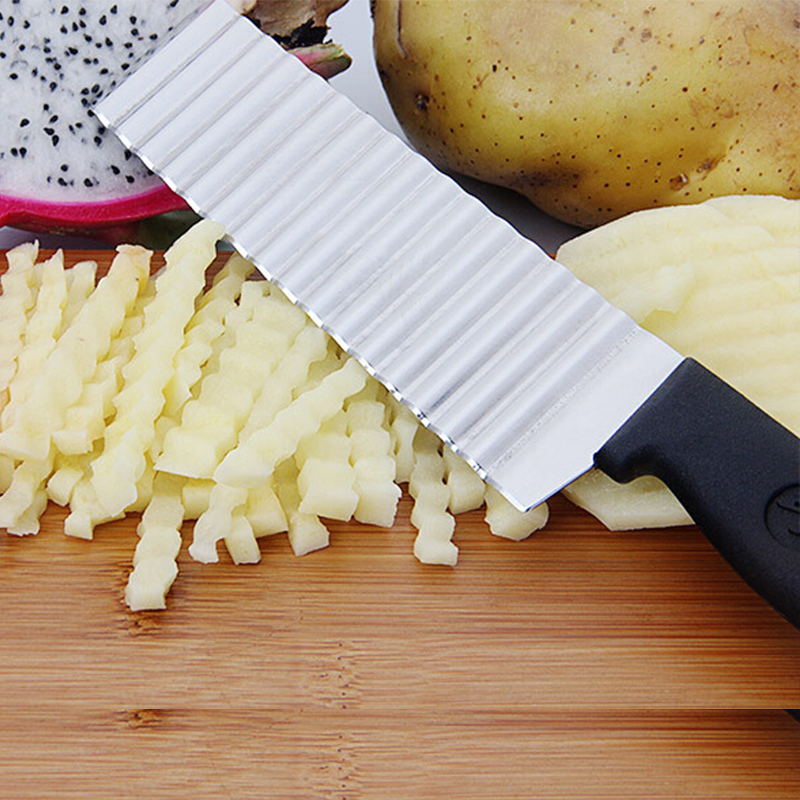 Potato French Fry Cutter Stainless Steel Kitchen Accessories Serrated Blade Easy Slicing Banana Fruits Potato Wave Knife ChopperPotato French Fry Cutter Stainless Steel Kitchen Accessories Serrated Blade Easy Slicing Banana Fruits Potato Wave Knife Chopper