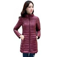 90% новое женское зимнее пальто ультра легкий тонкий 2018 белый утиный пух куртки плюс размер женский длинный пуховик переносная теплая верхня...