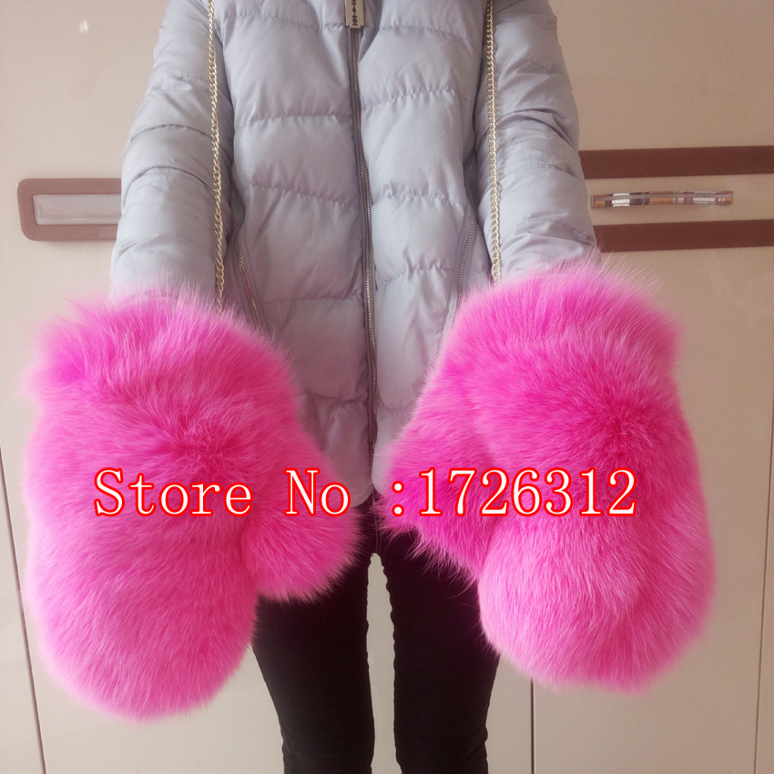 The new style fox fur gloves warm winter lady fashion fur gloves mittens