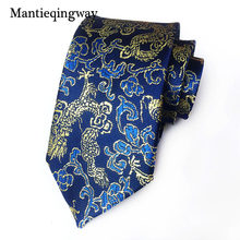 Mantieqingway Neck Ties Chinese Dragon Pattern Polyester 8 cm Tie Mens Business Ties Upscale Neckwear for Mens Festival Gift(China)