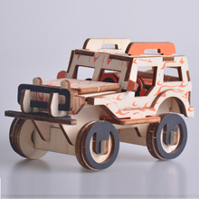 Baby Toys Jeep Vehicle 3D Puzzle Model Building Kits Wooden Family Game Educational Gift