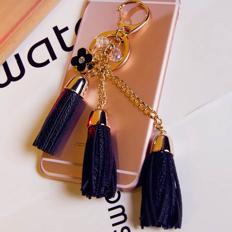 Charm Chic Women PU Leather Long Tassel Flower Keychain Keyring Bag Purse Phone Pendant Gift Fashion tassel charm grab bag 3pcs