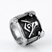 Fashion Masonic Ring New Silver Men's Rings Jewelry Crown Stainless Steel Finger Ring