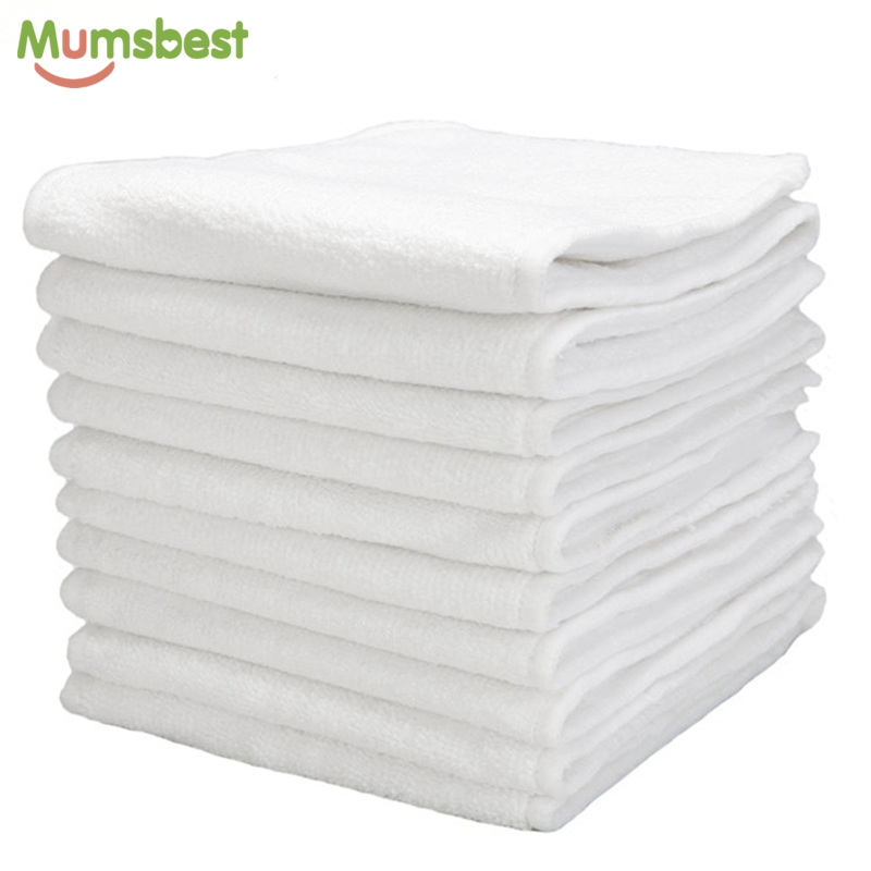 [Mumsbest] 10 Pcs Washable Reuseable Baby Cloth Diapers Nappy inserts microfiber 3 layers