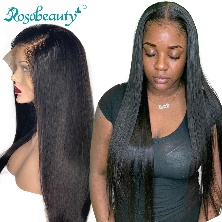 Rosabeauty 30 32 inch Long glueless 13x6 Lace Front Human Hair Wigs pre plucked Brazilian Straight Frontal Wig For Black Women-in Human Hair Lace Wigs from Hair Extensions & Wigs
