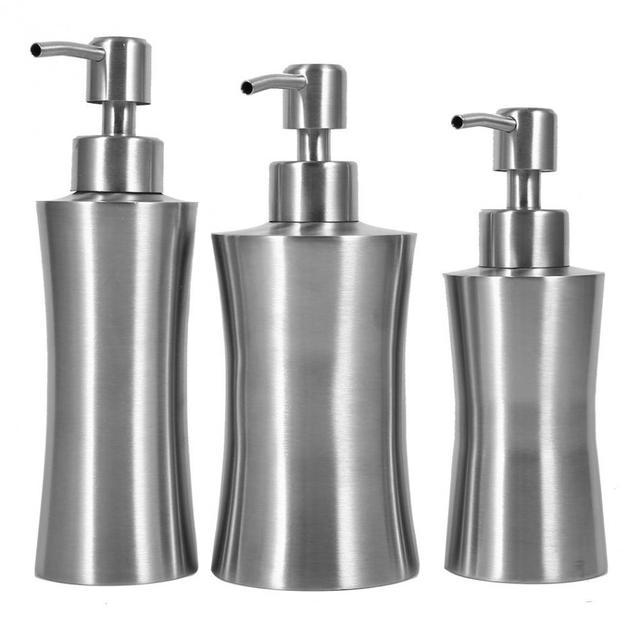 220/250/400mL Stainless Steel Liquid Soap Dispenser Bathroom Soap Container Pump Lotion Dispenser Bottle Hand Sanitizer Holder