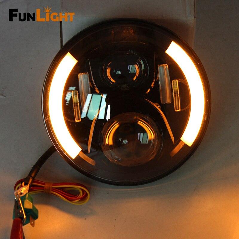 ФОТО 7 inch H4 LED Motorcycle Headlight Bulbs With Halo  LED Headlamp High Low Motos Light Bulbs For Harley Motorcycle Light