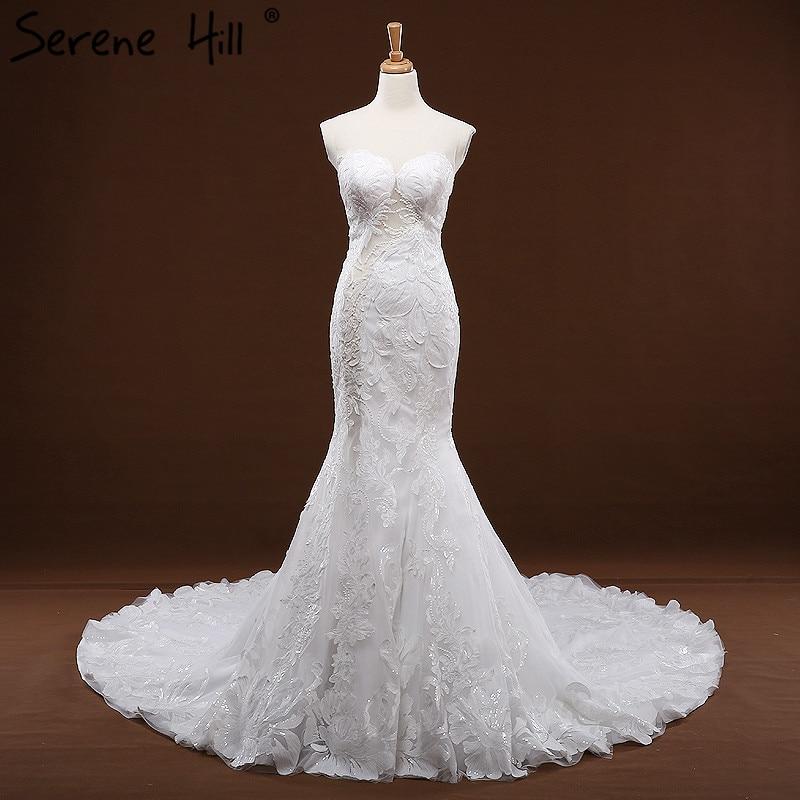 O Neck High end Fashion Mermaid font b Wedding b font Dresses Sleeveless Appliques font b