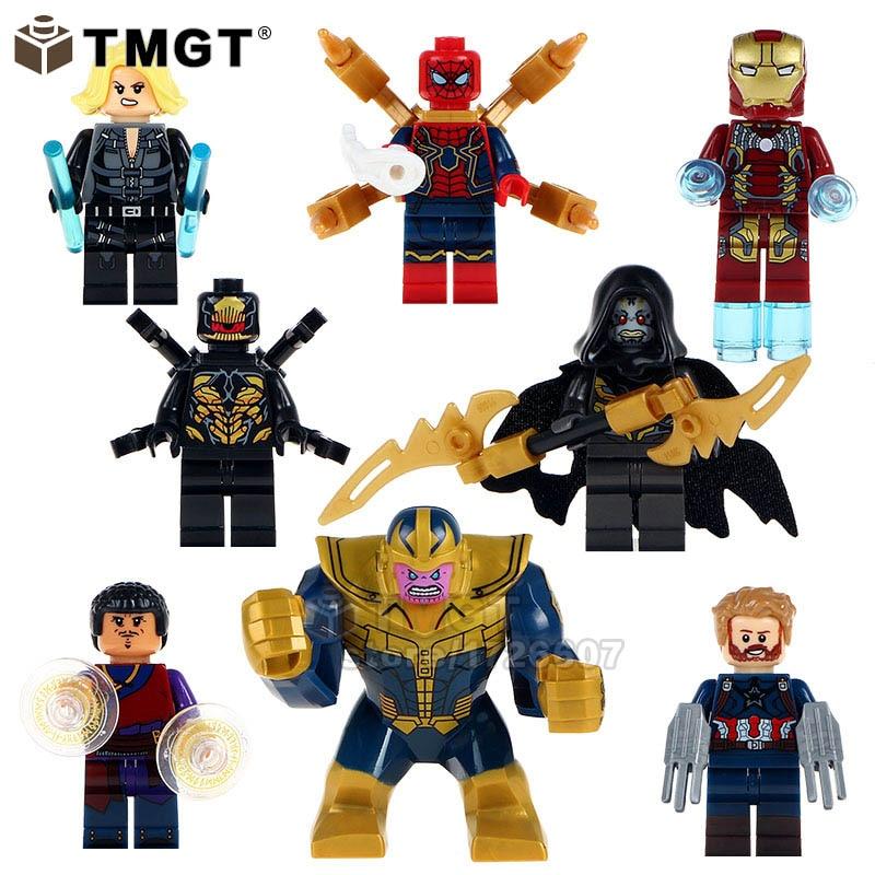 Good Single Sale Legoing Building Blocks Super Heroes Thanos Black Widow Iron Man Lady Death Spider-man Bricks Toys Children X0186 Blocks Model Building