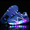 Alta Qualidade Populares Sapatos Patins Crianças Meninos Meninas Sapatilhas com Rodas De LED Light up Incandescência tenis de rodinha