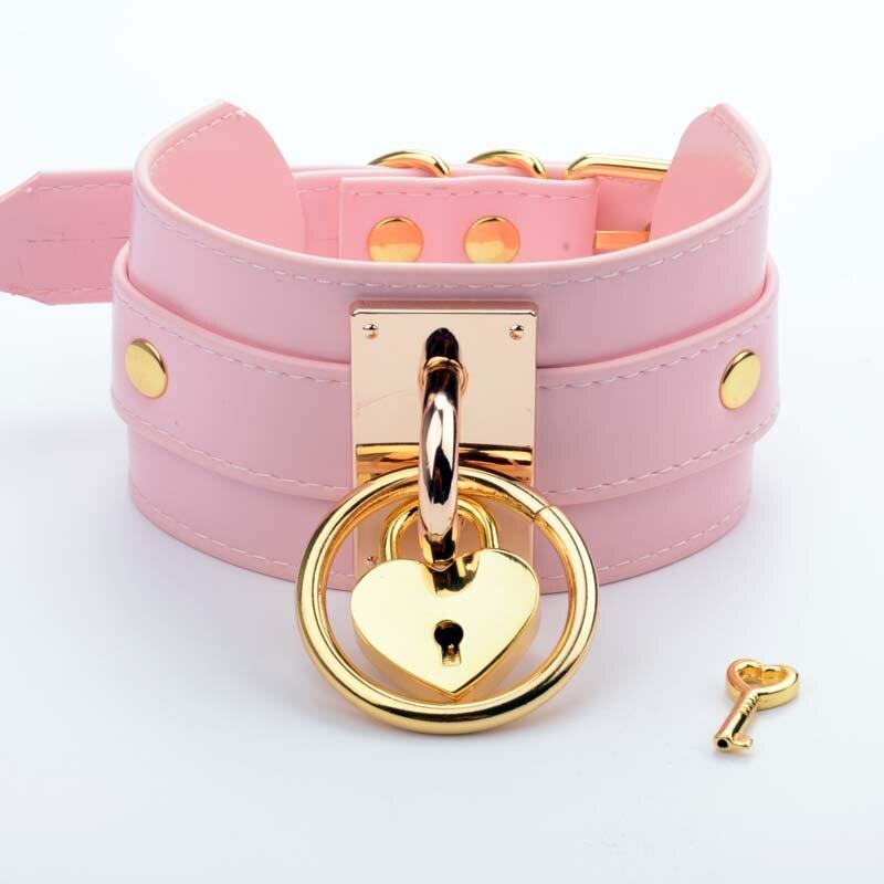 Handmade Oversize Tall High Choker Lockable Padlock Key BDSM Collar Pink Golden Metal Necklace Bondage Slave Collar Gothic