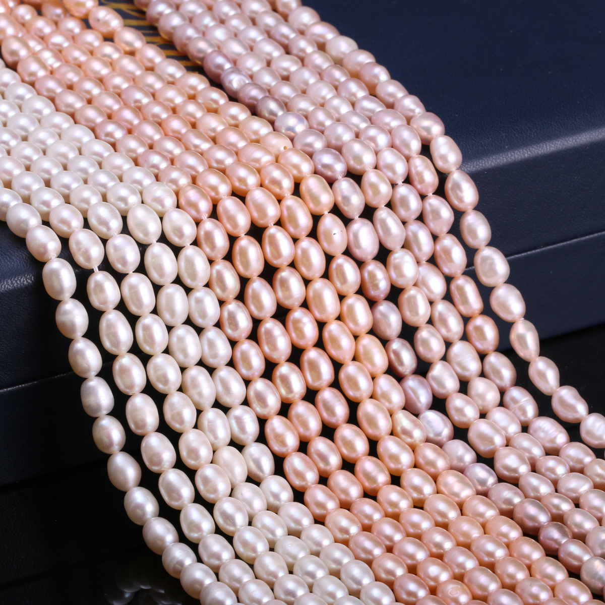 Cultured Pearls Beads Jewelry Making Rice-Shape Natural-Freshwater Diy-Strand for 13-Inches