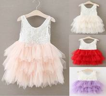 Summer New Girls Dresses Lace Gauze Princess Vest Dress Girl Party Sundress Layered Dress Children Clothing E16900