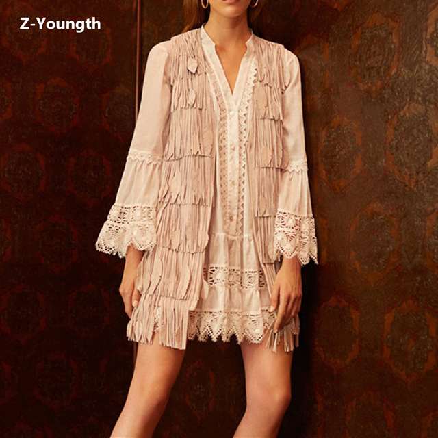 2018 Autumn Lazy Style 2 Piece Set Women Solid White Flare Sleeve Dress Inside Tassel Suede Solid Apricot Tank Two Piece Set