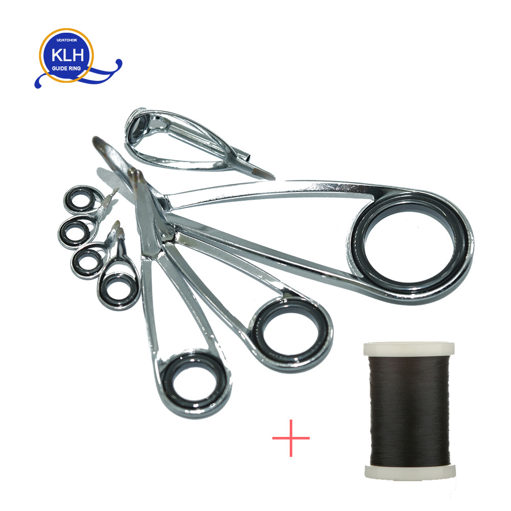 8pcs/Kit KLH Bracket Stainless Steel SIC Guide Ring For UL-L-ML Power Spinning Fishing Rod Repair Refit Assembly DIY Rod Guides