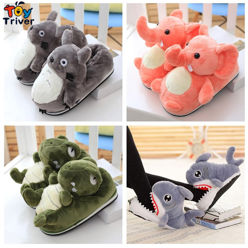 Cartoon Plush Sharks Elephant Dinosaur Totoro Stuffed Slippers Home House Office Winter Shoes For Adults Plush Toys Triver Toy soft house coral plush slippers shoes white