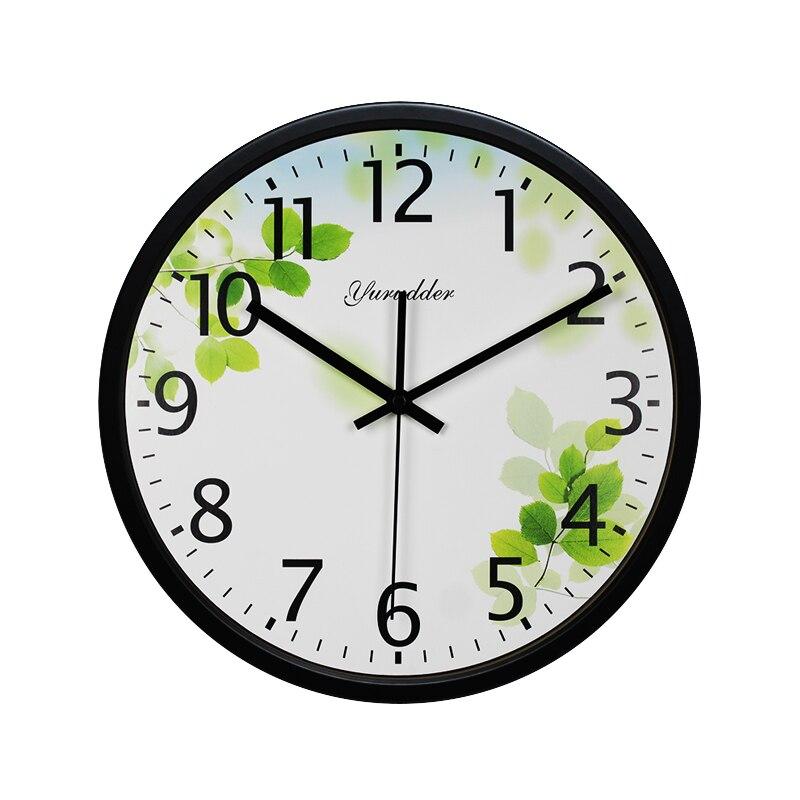 Nejnovější zelené listy design 12 palců kovový rám moderní módní dekorativní kulaté nástěnné hodiny