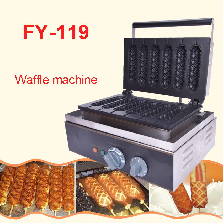 Commercial Electric 6 Pieces Crispy Corn Hot Dog Waffle Maker Non-stick French Muffin Sausage Machine EU US Plug 110V220V FY-119 commercial use gas corn hot dog waffle machine waffle stick for 15 pcs eu us adapter plug stainless steel holder stand baker