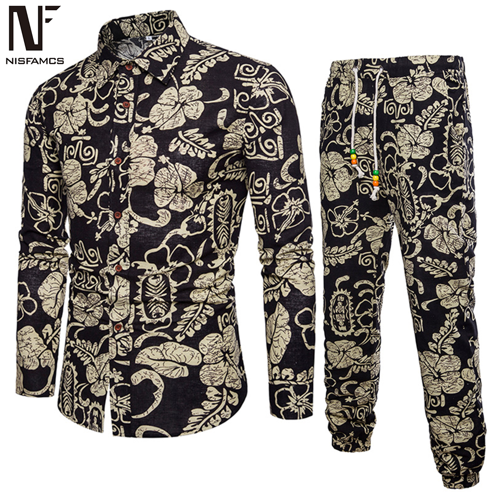 Handsome Boys Floral Suits Holiday Casual Set Long Sleeve Clothes Men Pants Vintage Printed Dinner Party Suit New Fashion 2020