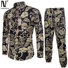Handsome Boys Floral Suits Holiday Casual Set Long Sleeve Clothes Men Pants Vintage Printed Dinner Party Suit New Fashion 2019(China)